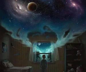 Dream, galaxy, and night image