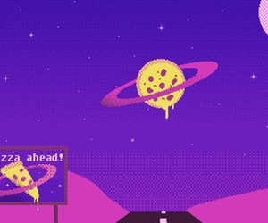 wallpaper, pizza, and purple image