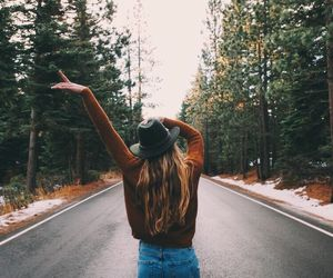 girl, road, and travel image