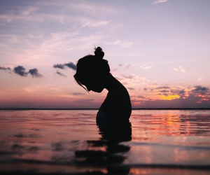 girl, sunset, and beach image