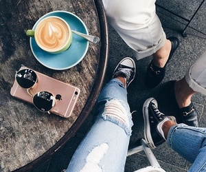 coffee, iphone, and jeans image