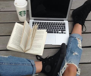book, starbucks, and jeans image