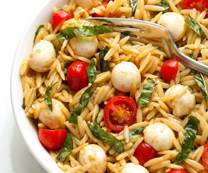 salad, caprese, and orzo image