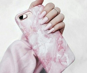 girl, long nails, and pink case image