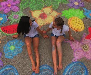 chalk, fruit, and girls image