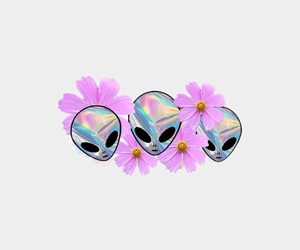 alien, background, and flowers image