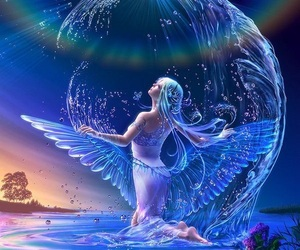 water, angel, and art image