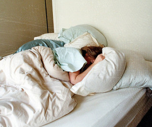 bed, girl, and sleep image