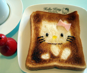 hello kitty, food, and toast image