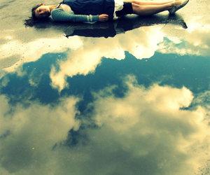 girl, reflection, and sky image