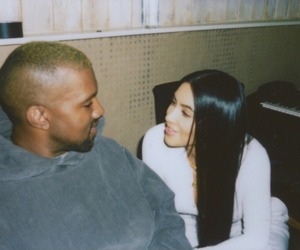 kanye west, kim kardashian, and couple image