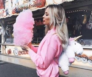 girl, pink, and unicorn image