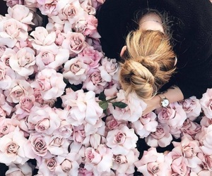 bun, pink, and flowers image