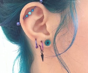 piercing, blue, and ear image