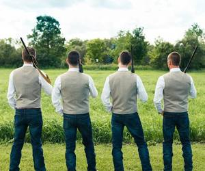 bridal party, groom, and rustic wedding image