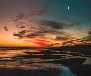 sky, moon, and sunset image