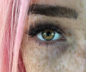 girl, pink, and eye image
