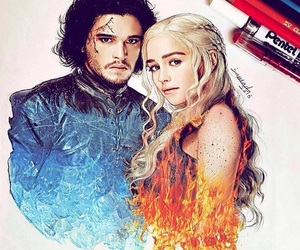 game of thrones, jon snow, and drawing image