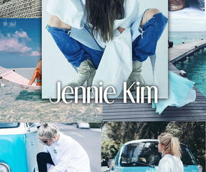 jennie kim, blue aesthetic, and wallpaper blackpink image