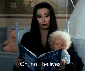 quotes, black and white, and addams family image