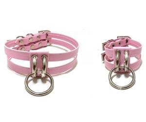choker, collar, and pink leather image