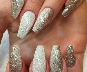 nails, glitter, and gold image