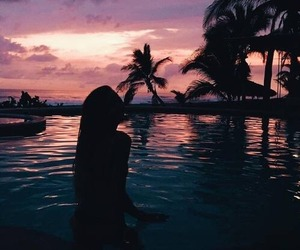 girl, pool, and silhouette image