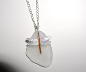 beach glass, jewelry, and dragonfly necklace image