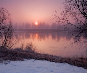 nature, sunset, and winter image