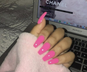 pink, nails, and chanel image