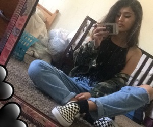 messy hair, crop top, and checkered vans image