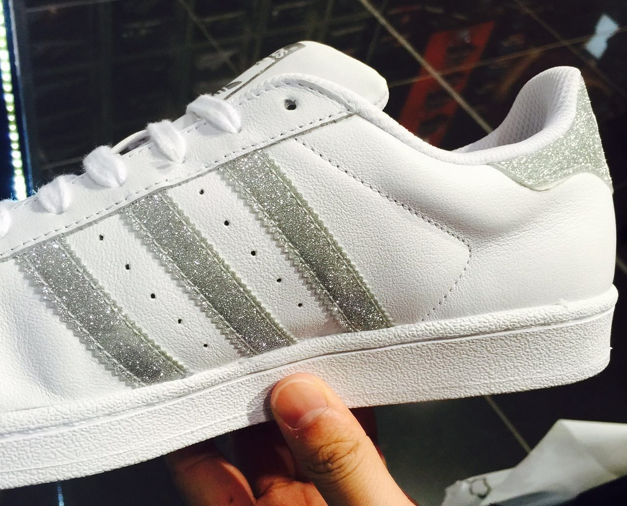 Adidas Superstar White Glitter Silver Trainers Shoes