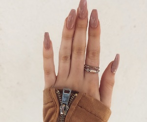 acrylic, coffin, and nude nails image
