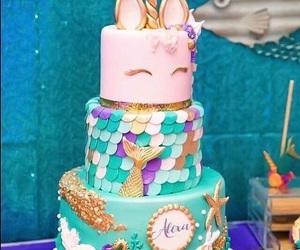 mermaid, unicorn, and cake image