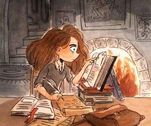 hermione, harry potter, and book image