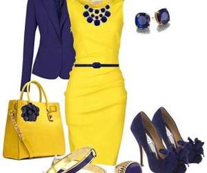 office, outfit, and yellow image