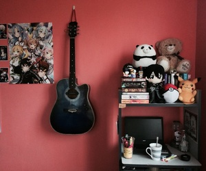 books, guitar, and room image