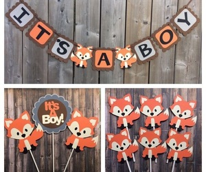 baby boy, boy or girl, and fox image