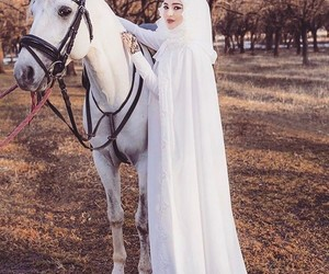 hijab, horse, and white image