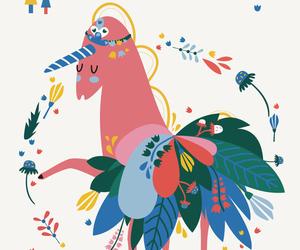 background, flowers, and unicorn image