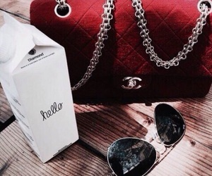 red, chanel, and sunglasses image