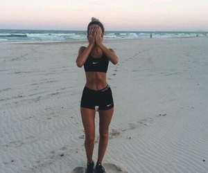 fit, beach, and girl image