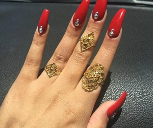 nails, red, and jewelry image