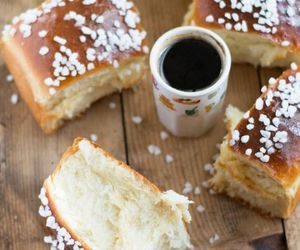 coffe, tarte+tropezienne, and food image