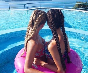 best friends, bikini, and braids image