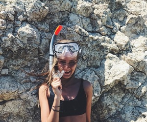 beach, smile, and snorkeling image