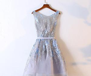 dresses, evening dress, and gray dress image