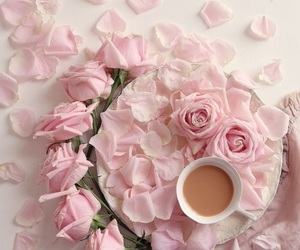 coffee, flowers, and flatlay image