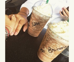 cute couples, happiness, and starbucks image