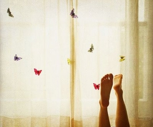 butterfly, feet, and freedom image